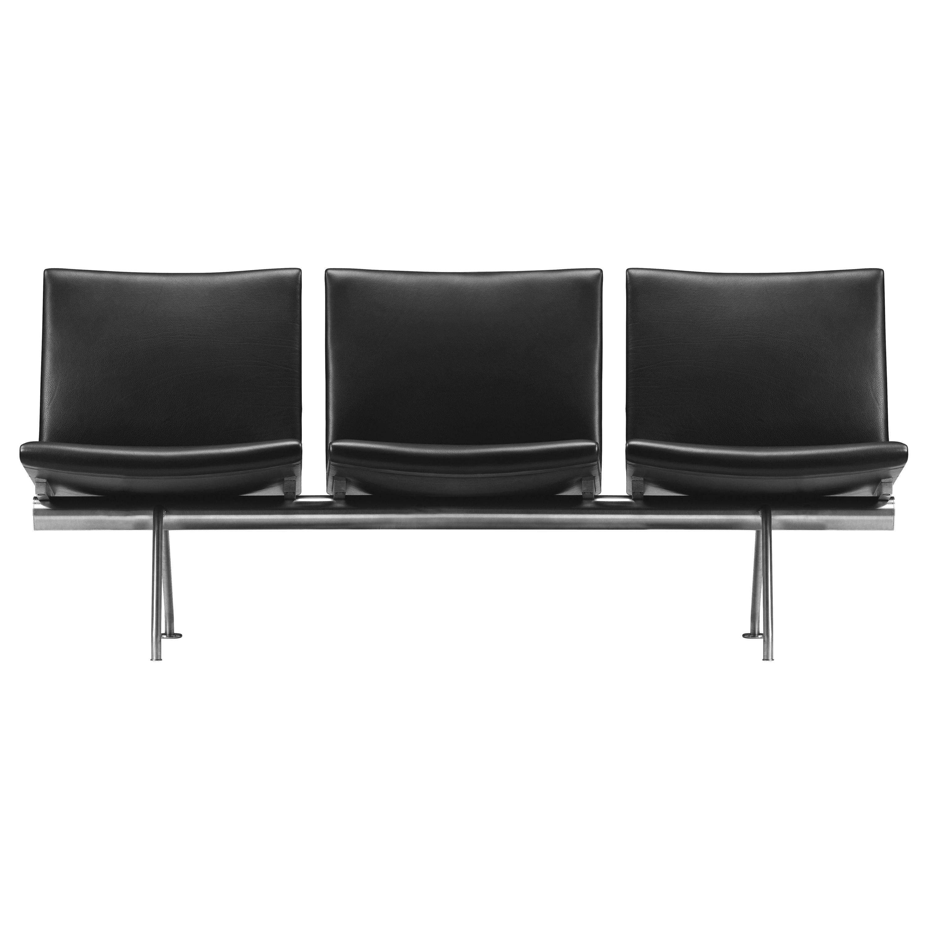 CH403 3-Seat Kastrup Sofa in Stainless Steel with Leather Seat by Hans J. Wegner