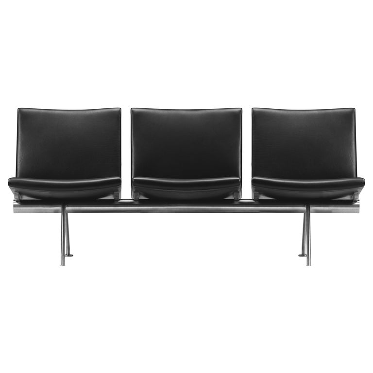 For Sale: Black (Thor 301) CH403 3-Seat Kastrup Sofa in Stainless Steel with Leather Seat by Hans J. Wegner