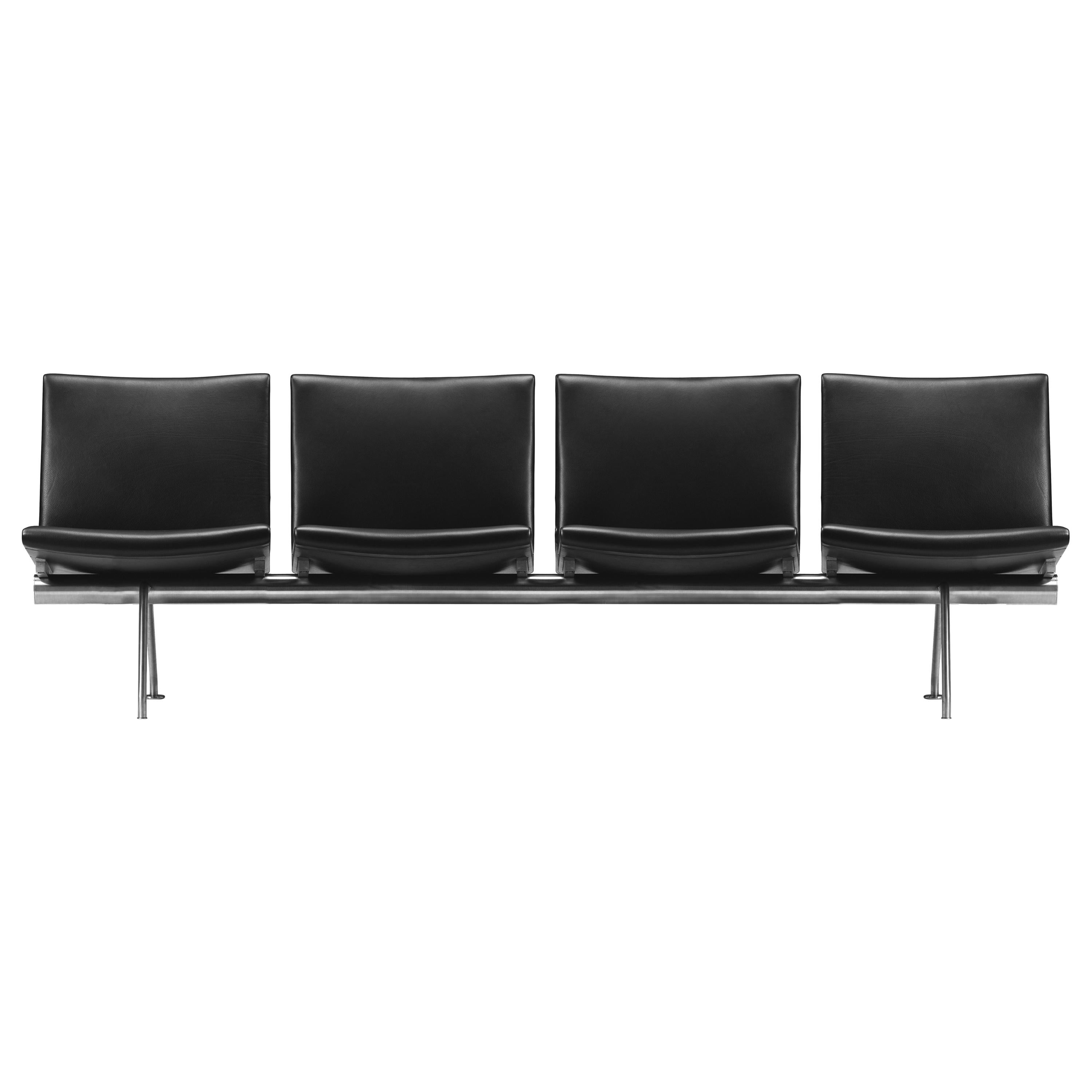 CH404 4-Seat Kastrup Sofa in Stainless Steel with Leather Seat by Hans J. Wegner