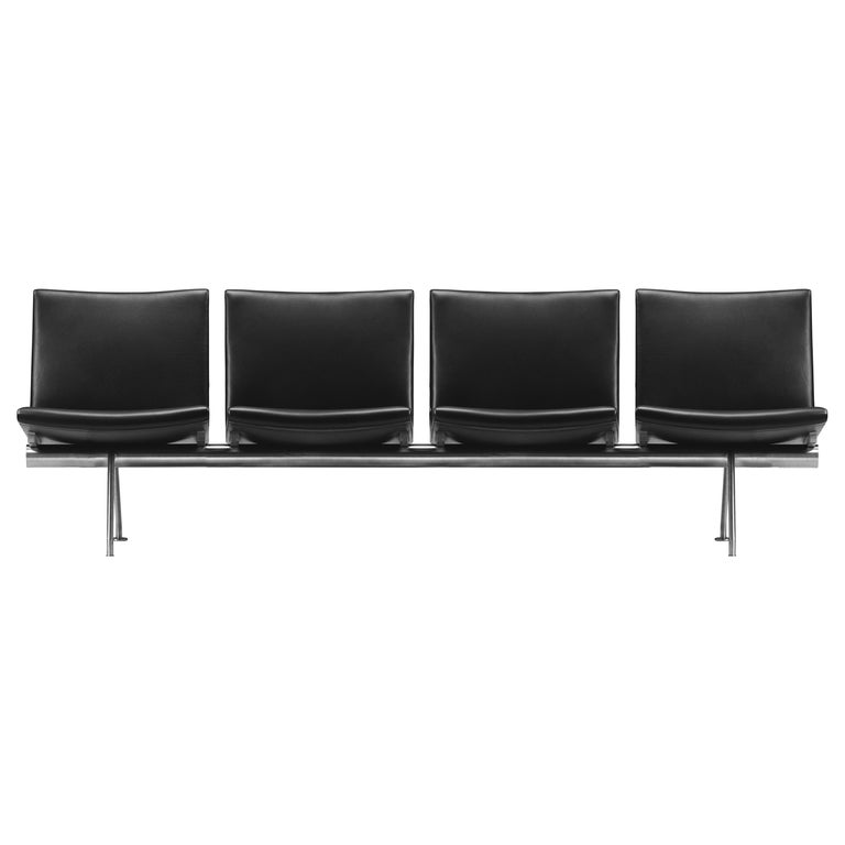 For Sale: Black (Thor 301) CH404 4-Seat Kastrup Sofa in Stainless Steel with Leather Seat by Hans J. Wegner