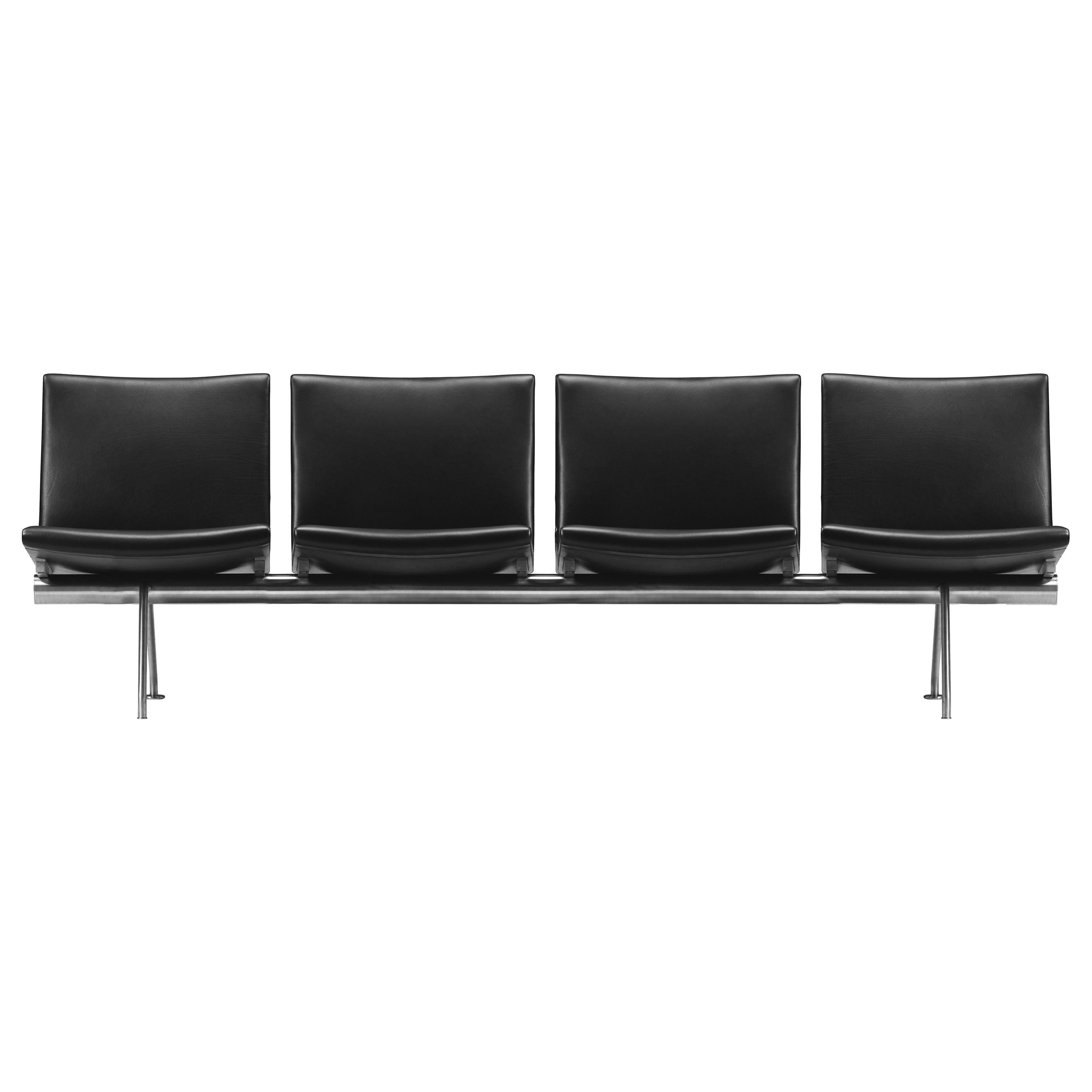 CH404 4-Seat Kastrup Sofa in Steel & Thor 301 Leather Seat by Hans J. Wegner