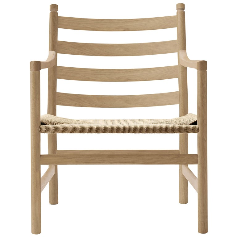 For Sale: Brown (Oak Soap) CH44 Lounge Chair in Wood with Natural Papercord Seat by Hans J. Wegner