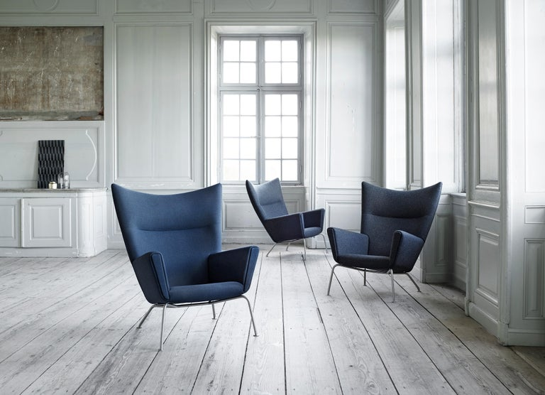 CH445 Wing Chair in Fabric with Stainless Steel Base by Hans J. Wegner For Sale 6