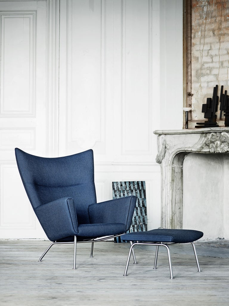 CH445 Wing Chair in Fabric with Stainless Steel Base by Hans J. Wegner For Sale 9