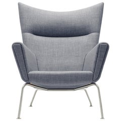 CH445 Wing Chair in Fabric with Stainless Steel Base by Hans J. Wegner