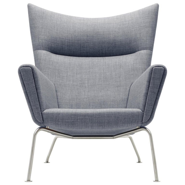 For Sale: Gray (Kvadrat Fiord 151) CH445 Wing Chair in Fabric with Stainless Steel Base by Hans J. Wegner