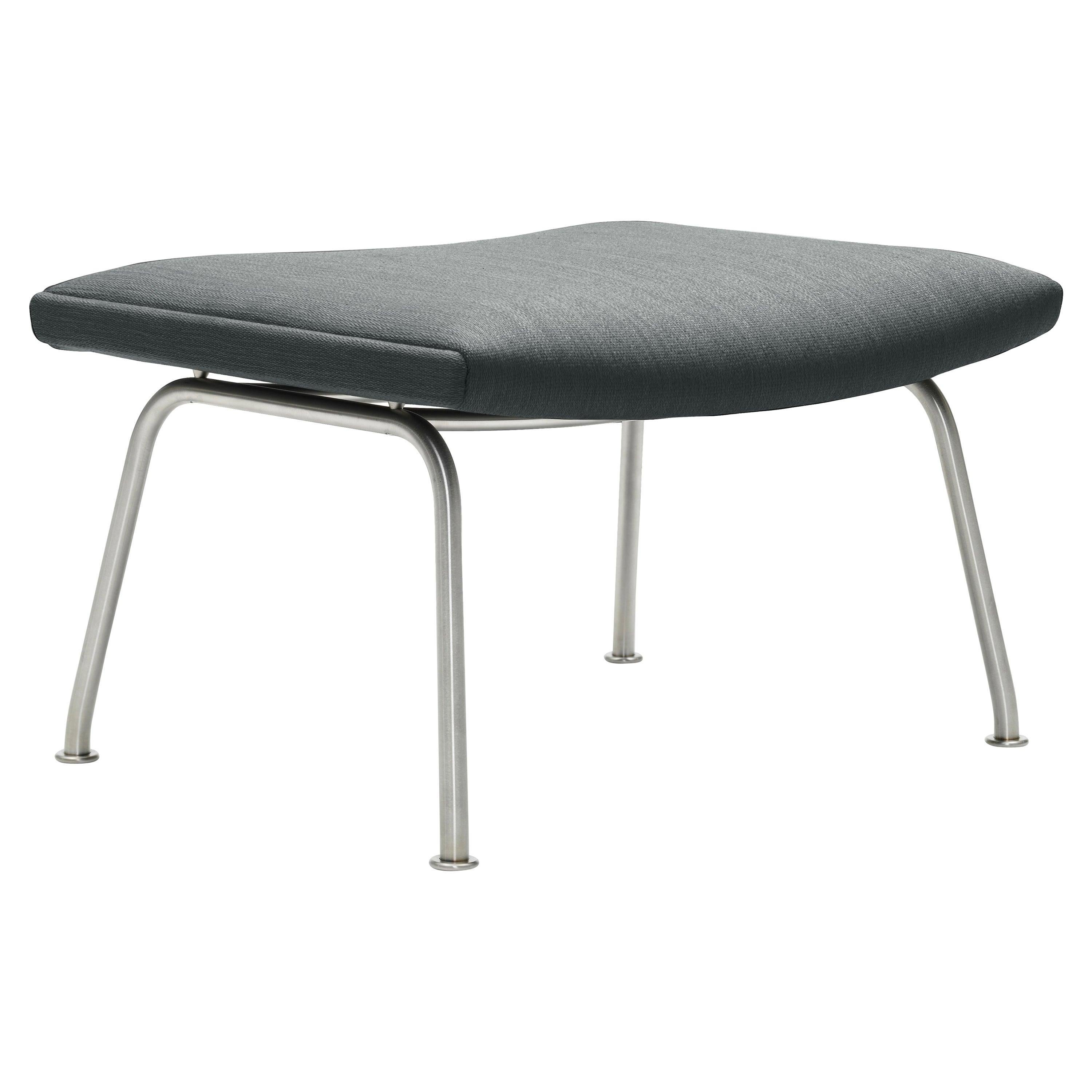 CH446 Footrest in Stainless Steel with Fiord 151 Fabric Seat by Hans J. Wegner