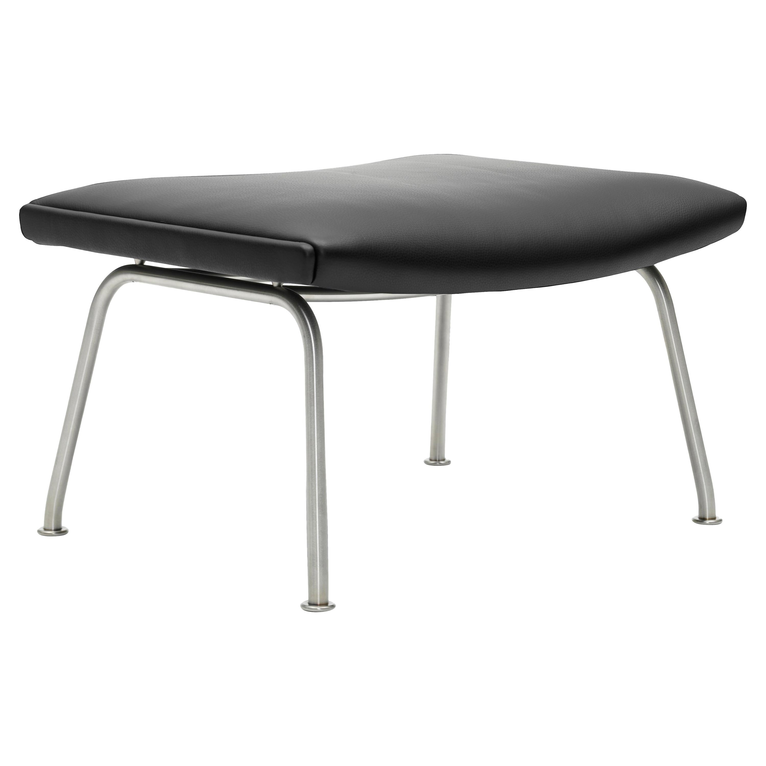 CH446 Footrest in Stainless Steel with Leather Seat by Hans J. Wegner
