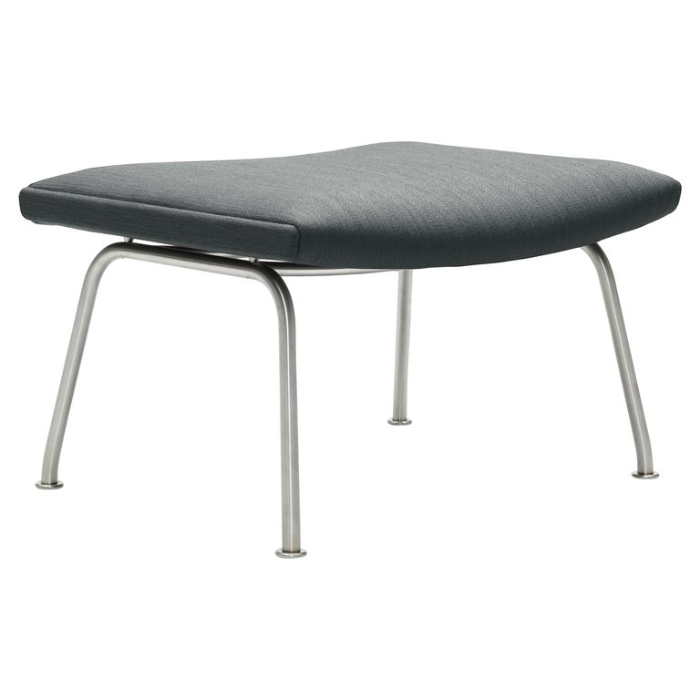 For Sale: Gray (Kvadrat Fiord 151) CH446 Footrest in Stainless Steel with Fabric Seat by Hans J. Wegner