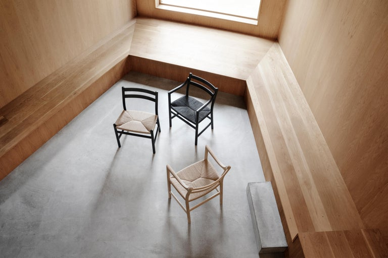 Contemporary CH46 Dining Chair in Wood Finishes with Natural Papercord Seat by Hans J. Wegner For Sale