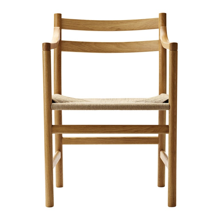 For Sale: Brown (Oak Oil) CH46 Dining Chair in Wood Finishes with Natural Papercord Seat by Hans J. Wegner