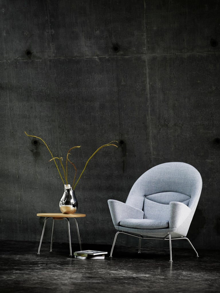 Fabric CH468 Oculus Chair in Stainless Steel with Foam Seat by Hans J. Wegner For Sale