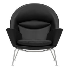 CH468 Oculus Chair in Stainless Steel with Leather Seat by Hans J. Wegner
