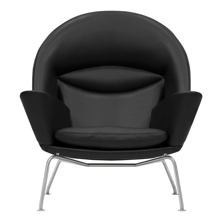 For Sale: Black (Thor 301) CH468 Oculus Chair in Stainless Steel with Leather Seat by Hans J. Wegner