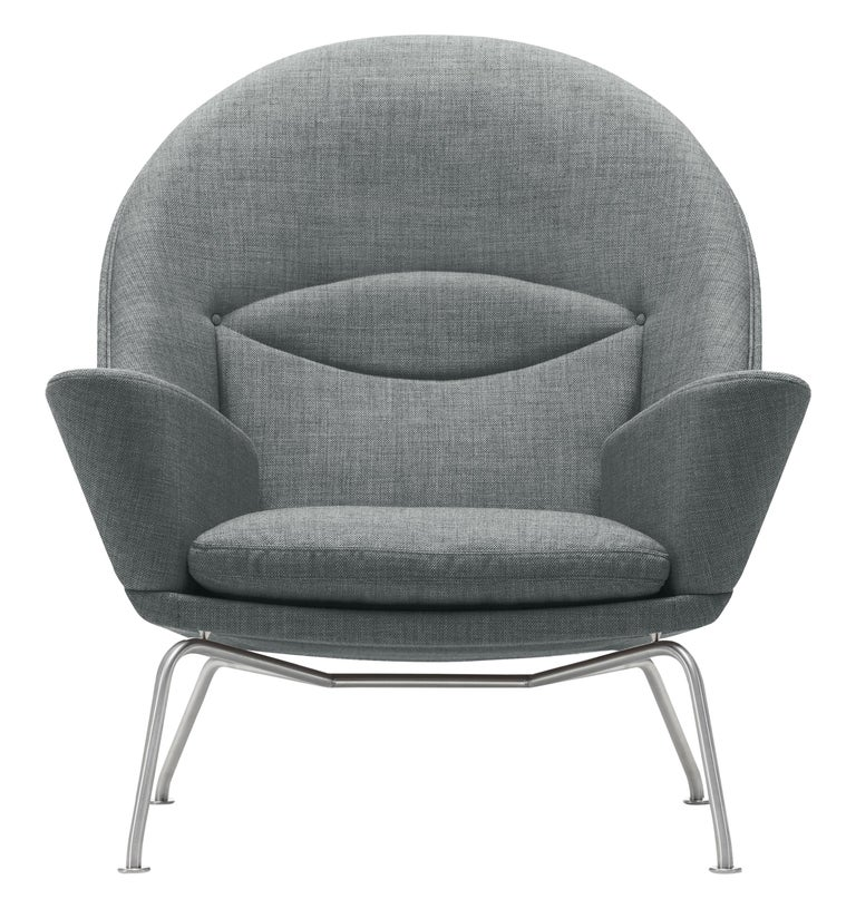 For Sale: Gray (Kvadrat Fiord 151) CH468 Oculus Chair in Stainless Steel with Foam Seat by Hans J. Wegner