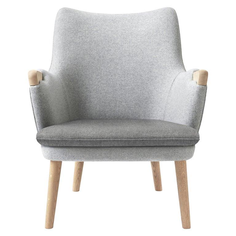 For Sale: Gray (Kvadrat Hallingdal65 130) CH71 Lounge Chair in Oak White Oil with Upholstered Frame by Hans J. Wegner