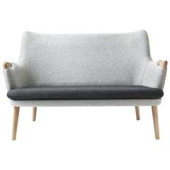 CH72 Sofa in Oak Soap with DivinaMelange 180 Fabric Frame by Hans J. Wegner