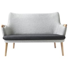 CH72 Sofa in Oak Soap with Upholstered Frame by Hans J. Wegner