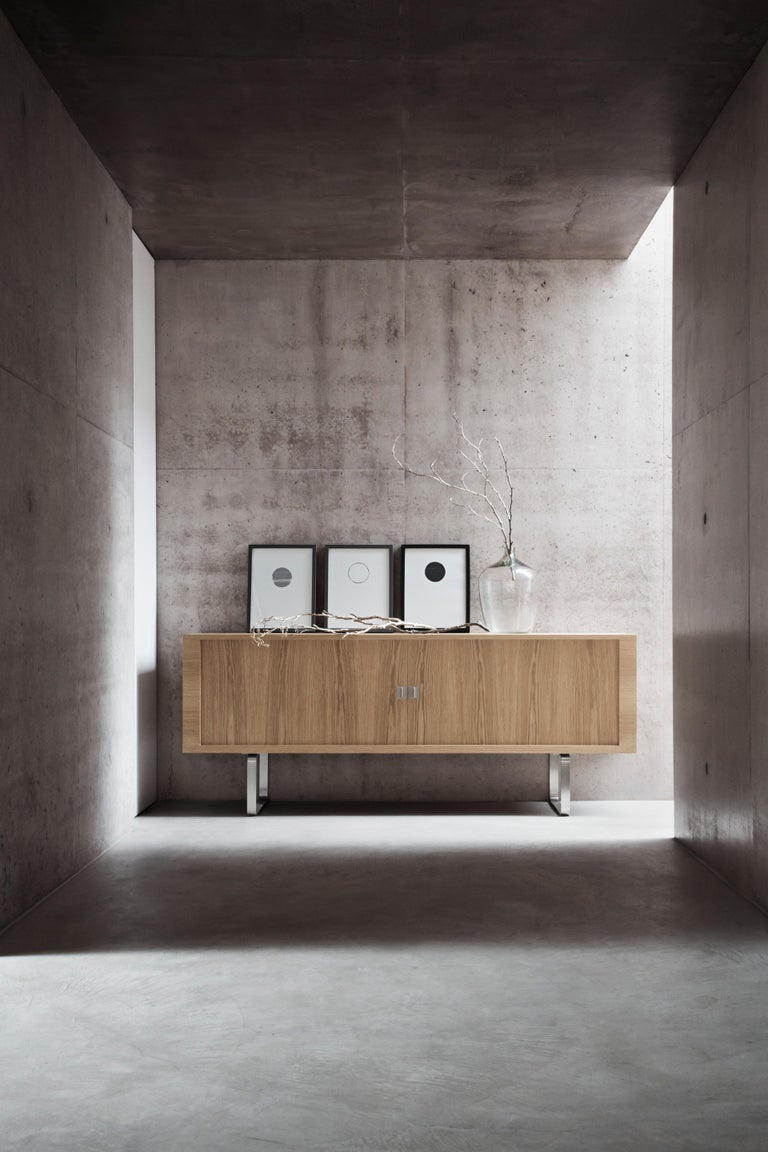 Contemporary CH825 Credenza with Stainless Steel Base by Hans J. Wegner For Sale