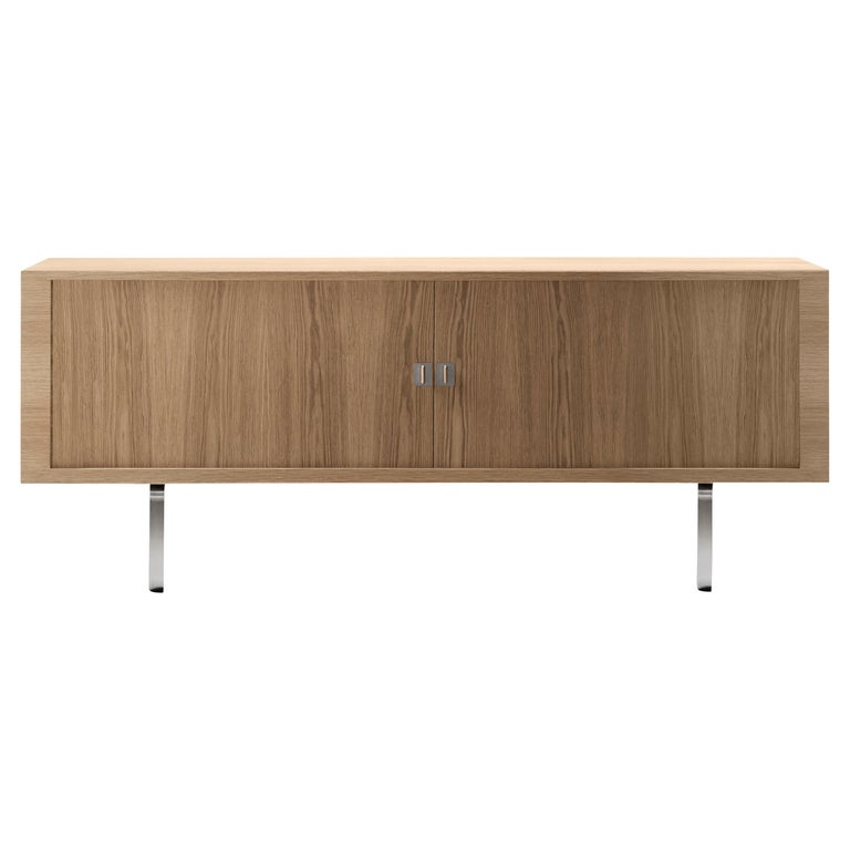 For Sale: Brown (Oak Oil) CH825 Credenza with Stainless Steel Base by Hans J. Wegner