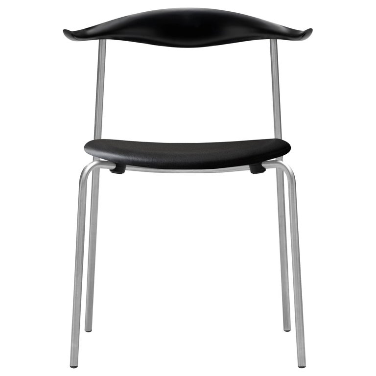 For Sale: Black (Thor 301) CH88P Dining Chair in Beech Painted Black with Chrome Base by Hans J. Wegner