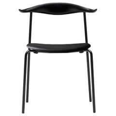CH88P Dining Chair in Beech Painted Black with Steel Base by Hans J. Wegner