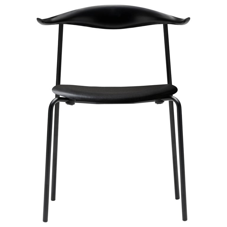For Sale: Black (Thor 301) CH88P Dining Chair in Beech Painted Black with Steel Base by Hans J. Wegner