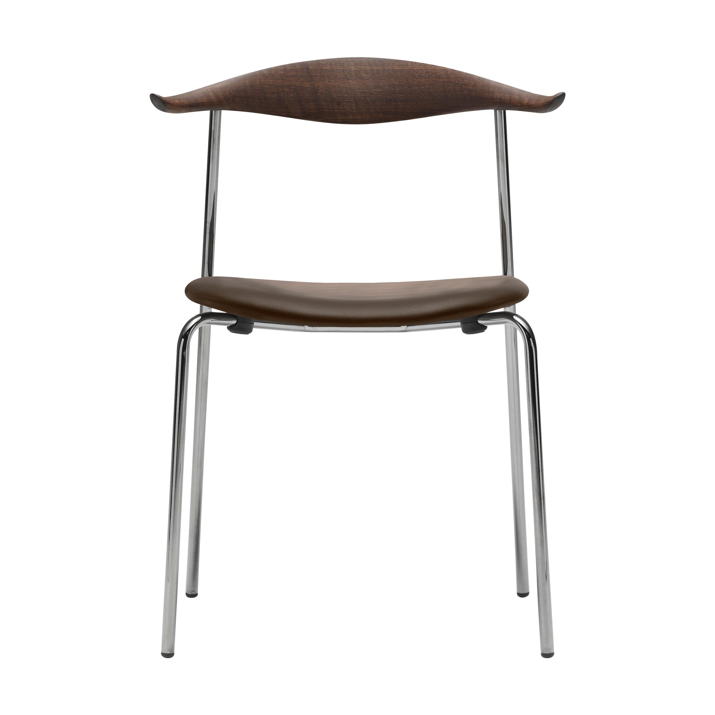 CH88P Dining Chair in Oak Smoked Stain with Steel Base by Hans J. Wegner