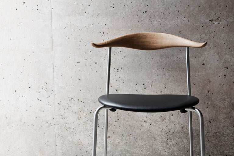 CH88P Dining Chair in Oiled Oak with Powder Coated Steel Base by Hans J. Wegner For Sale 3