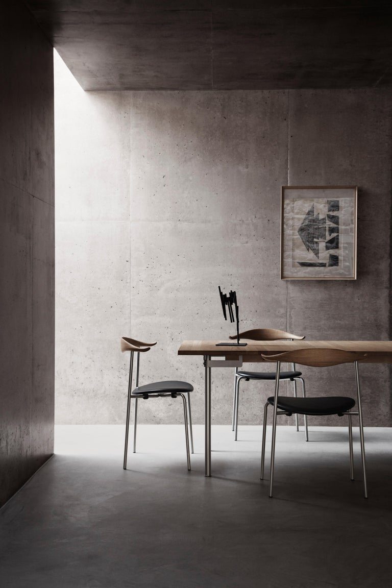 Modern CH88P Dining Chair in Oiled Oak with Powder Coated Steel Base by Hans J. Wegner For Sale