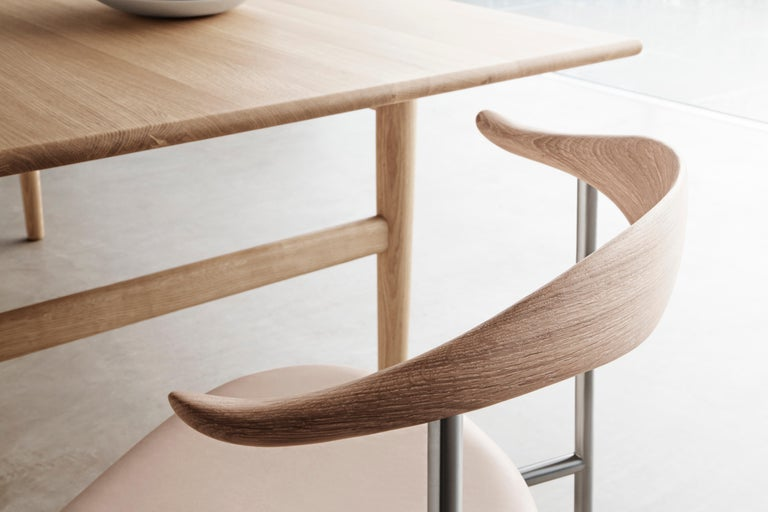Danish CH88P Dining Chair in Oiled Oak with Powder Coated Steel Base by Hans J. Wegner For Sale