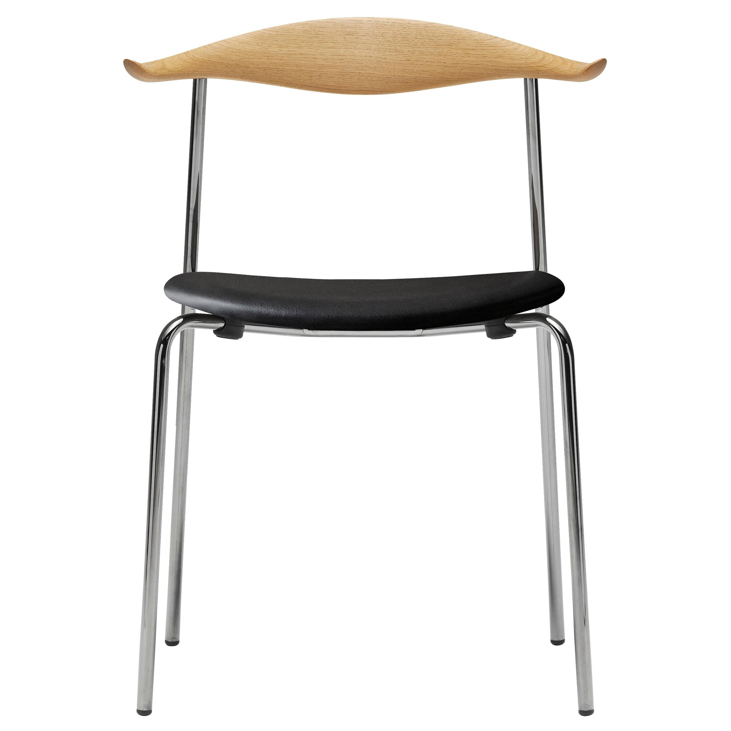 CH88P Dining Chair in Oiled Oak with Stainless Steel Base by Hans J. Wegner