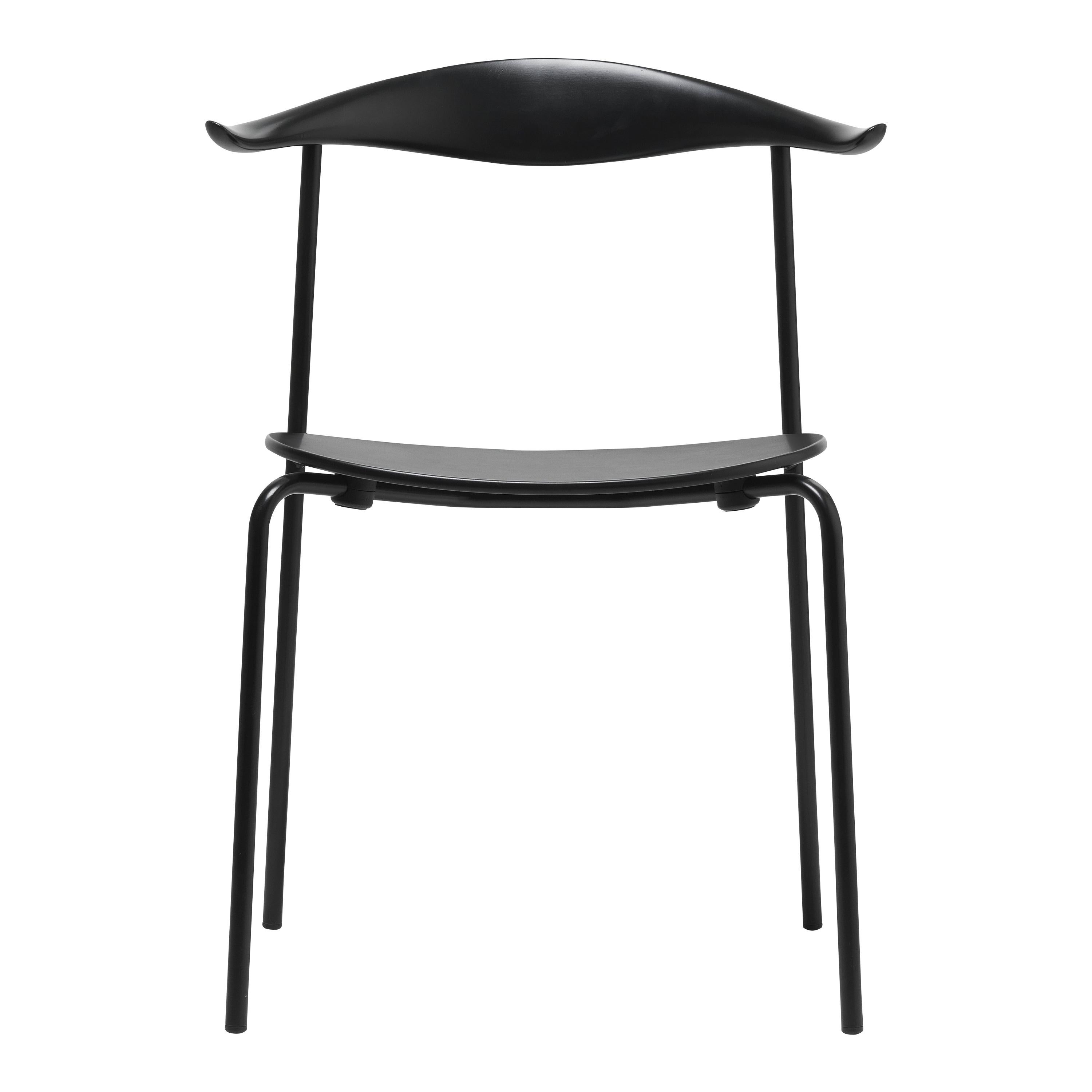 CH88T Dining Chair in Wood with Black Powder Coated Steel Base by Hans J. Wegner