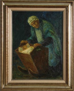 Woman with Child in Crib, Oil Painting by Chaim Goldberg