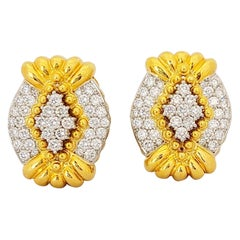 Chaavae 18 Karat Gold and Platinum, 3.50 Carat Diamonds Modified Oval Earrings
