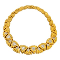 Chaavae Platinum and 18 Karat Yellow Gold and 2.92 Carat Diamond Collar Necklace