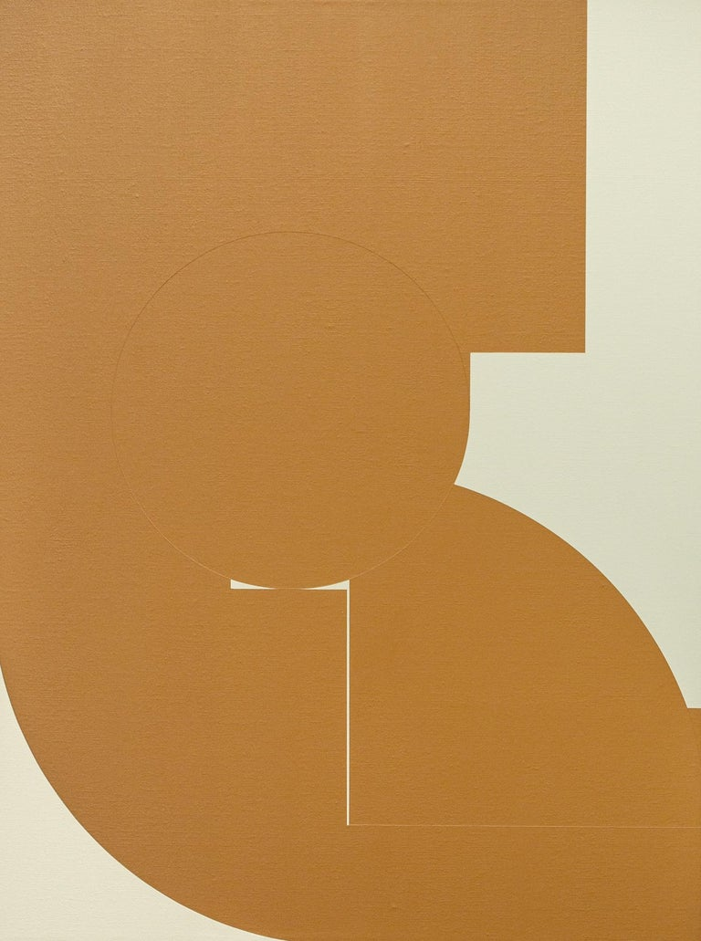 """Chad Hasegawa Abstract Painting - """"Untitled (Rust)"""", Abstract, Brown and Beige Acrylic Painting"""