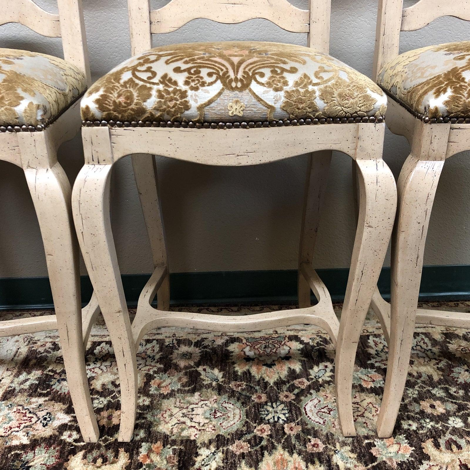 Astonishing Chaddock French Country Bar Stools Set Of Four Bralicious Painted Fabric Chair Ideas Braliciousco
