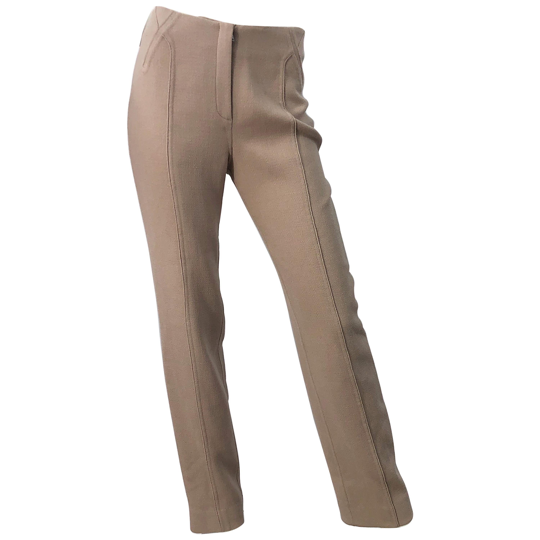 Chado Ralph Rucci 1990s Tan Khaki High Rise Slim Tailored Fit Trosuers 90s Pants