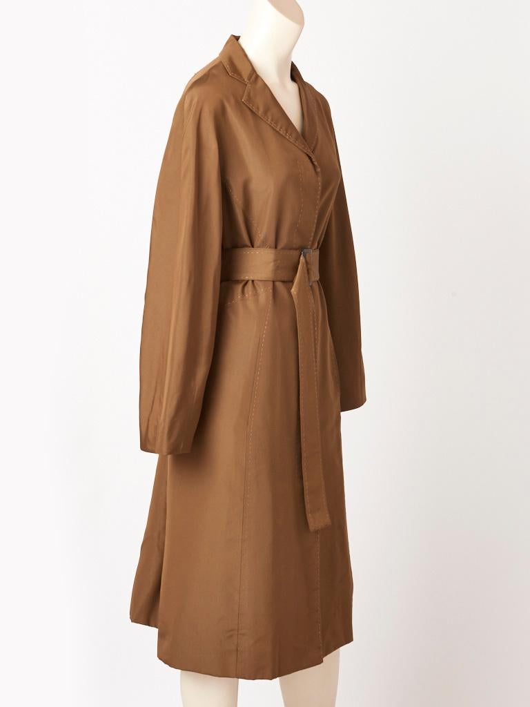 Brown Chado Ralph Rucci Bronze Tone Belted Coat For Sale