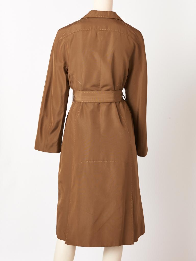 Chado Ralph Rucci Bronze Tone Belted Coat In Good Condition For Sale In New York, NY