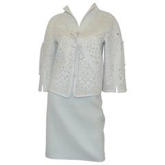 CHADO Ralph Rucci Cashmere Laser Cut Jacket + Skirt Set