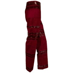 Chado, Ralph Rucci Cranberry Red Beaded and Woven Silk Pants