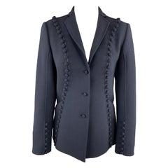 CHADO RALPH RUCCI Size 2 Navy Crepe Wool Button Trim Notch Lapel Jacket