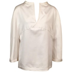 Chado Ralph Rucci White Cotton Tunic Top