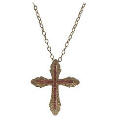 'Chadramani' Ruby and Diamond Cross Pendant