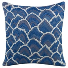 Chaffey Accent Pillow in Blue, Gray & White w/ Abstract Pattern by CuratedKravet