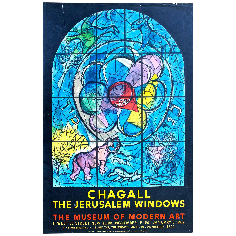 "Chagall ""Jerusalem Windows"" Original Mourlot Lithographed Poster, 1962"