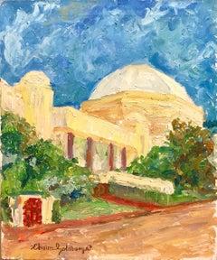 Judaica Oil Painting, Synagogue Miami Beach