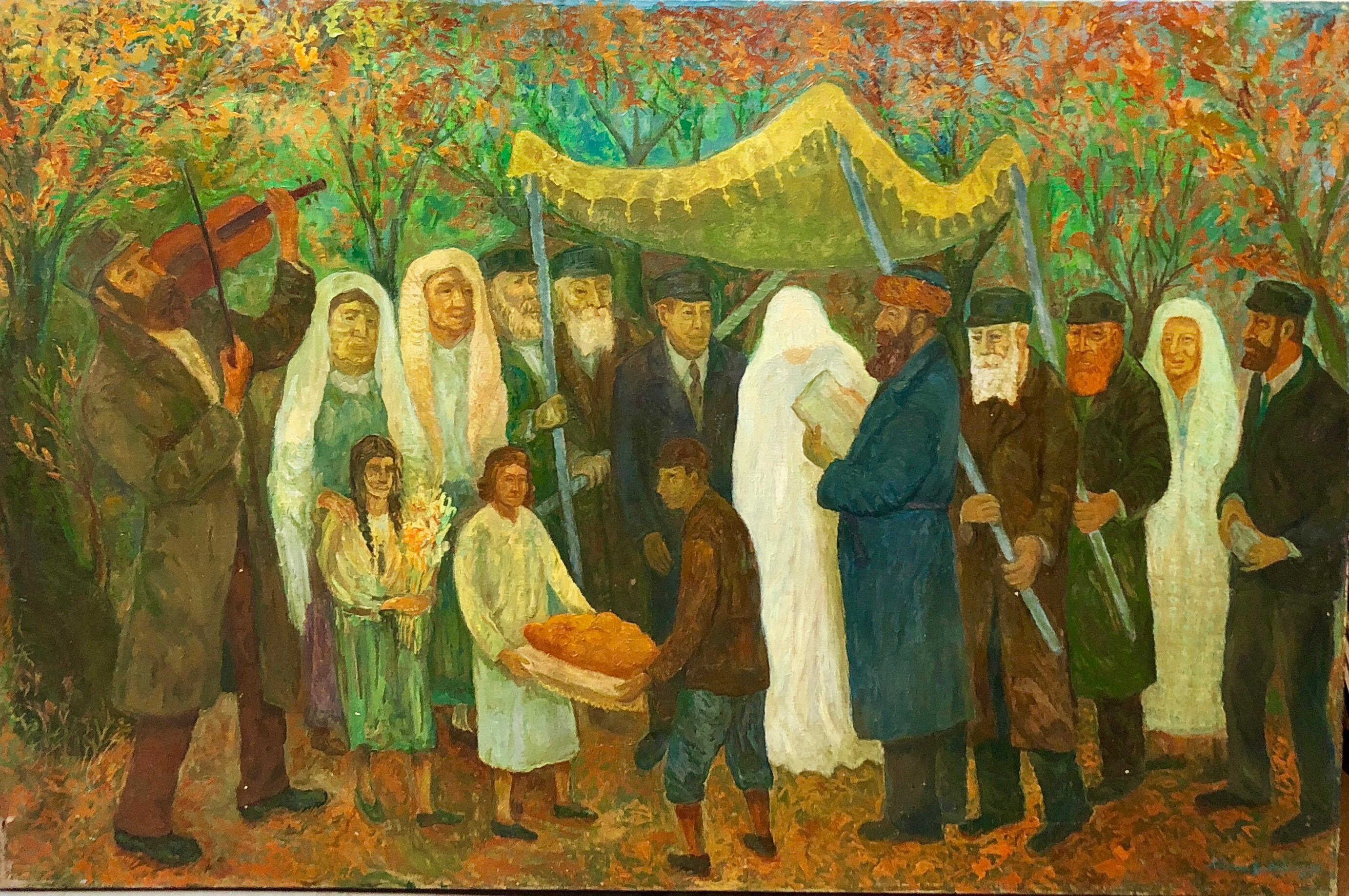 Large Judaica Oil Painting, Polish Jewish Wedding in the Shtetl Chaim Goldberg